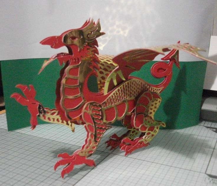 Dai my 3D model Welsh Dragon cut on my Silhouette using Kat Dunn's pattern