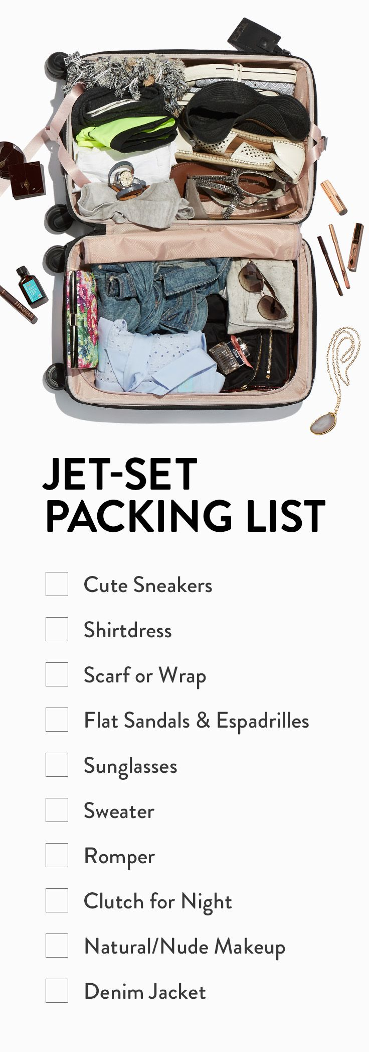 What to pack for a European or international vacation. Guide for the jet-setting girl.