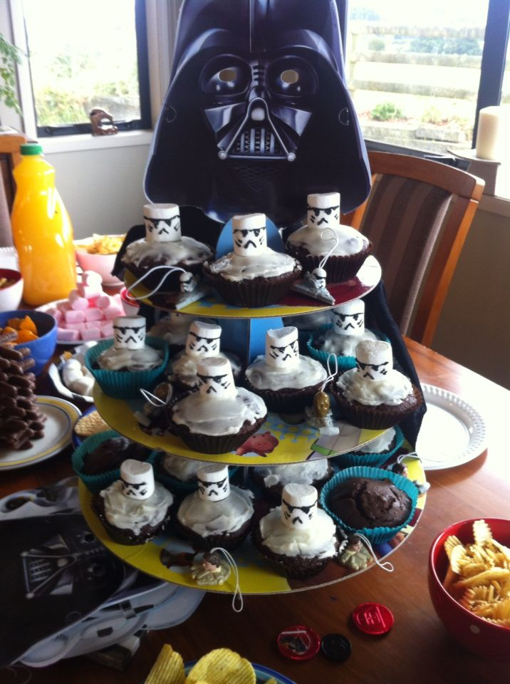 Star Wars themed cupcake tower. Marshmallows sure make great storm troopers.