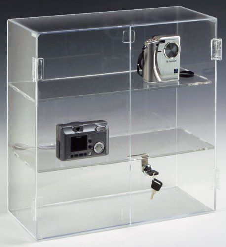 "Countertop Acrylic Display Case For Retail Store, 16-1/2""h x 16-1/4""w x 7""d, 2 Shelves With A Locking Hinged Door by Displays2go. $84.83. Rubber feet on the bottom keep the display case from slipping. Three levels of display space maximizes use of a small amount of space. Crystal clear acrylic displays items clearly so they are easily recognizable. Hinged doors have a cam lock making it easy to access items and lock them inside the display case. Dimensions: 16-1/2..."
