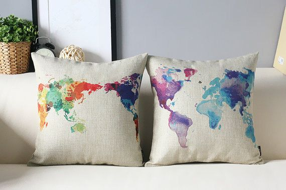 cotton linen Fabrics colorful world map cushion by ILovePillow