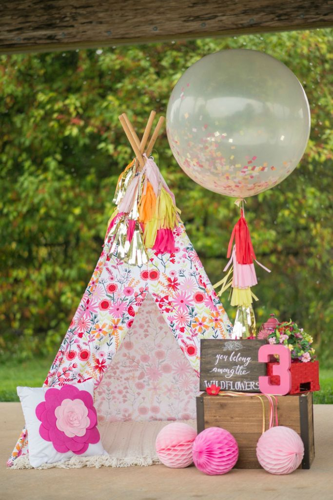 Perfect! M already had the teepee and the balloons. Wildflower Themed Kids Birthday Party -