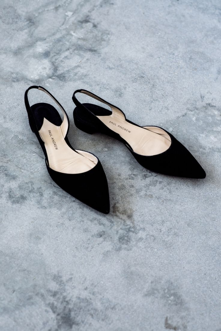 paul andrew black suede pointed slingback flats | Harper and Harley