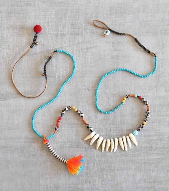 Tassel Semiprecious Teeth Necklace, Bohemian Tibet Agate Necklace, Boho Chaolite Turquoise Necklace, Ethnic Beaded Necklace, Free Shipping