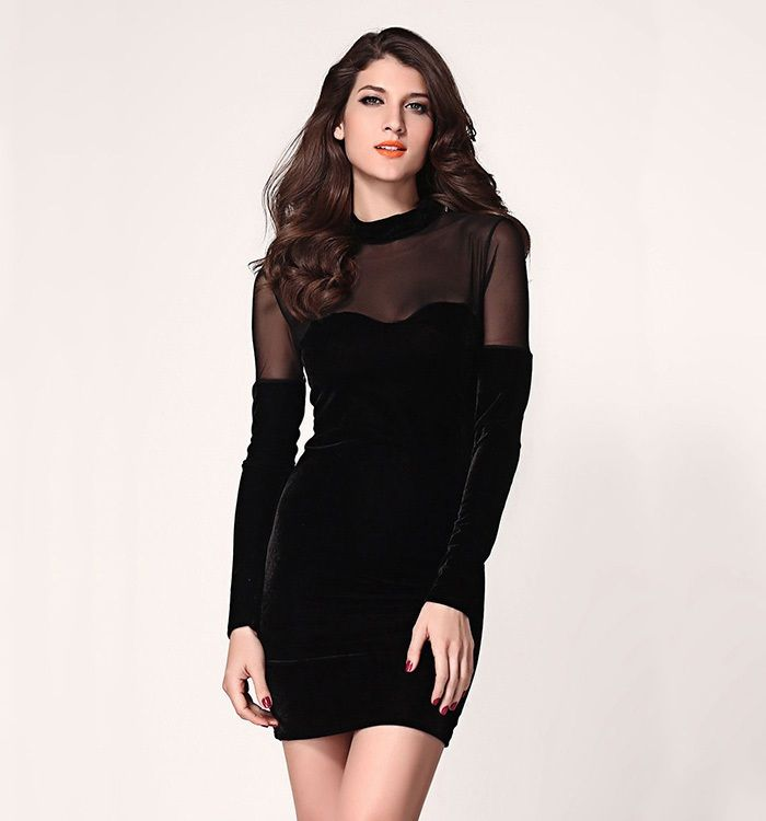 Empire Hollow Out Sexy Long Sleeve Black Bodycon Dress