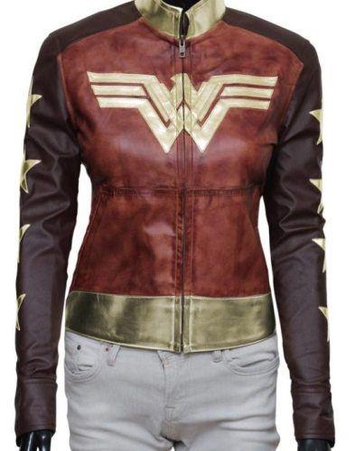 Brown Waxed Wonder Woman Jacket