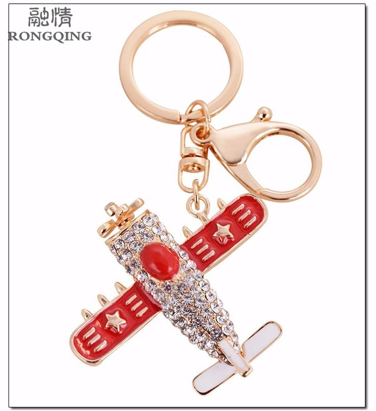 RONGQING High Quality Crystal Fighter KeyRings Childhood Dreams Battleplane Keychains for Men and Women Alloy Accessories