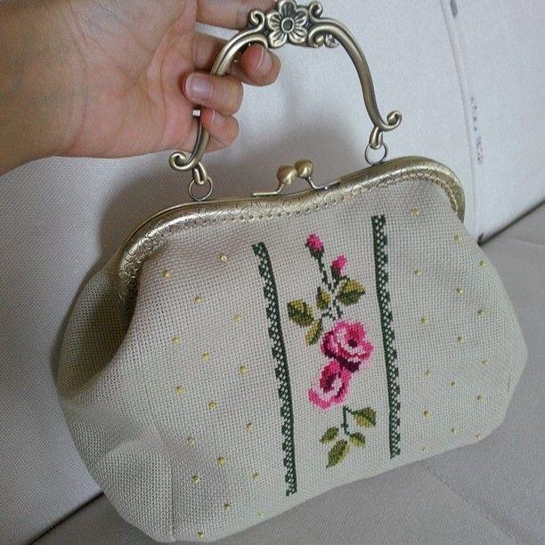 Etamin çanta cross stitch bag kanaviçe handmade dıy punto dectuz