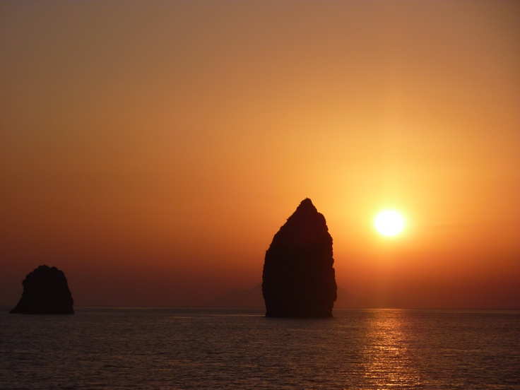 sunset in the Aeolian islands