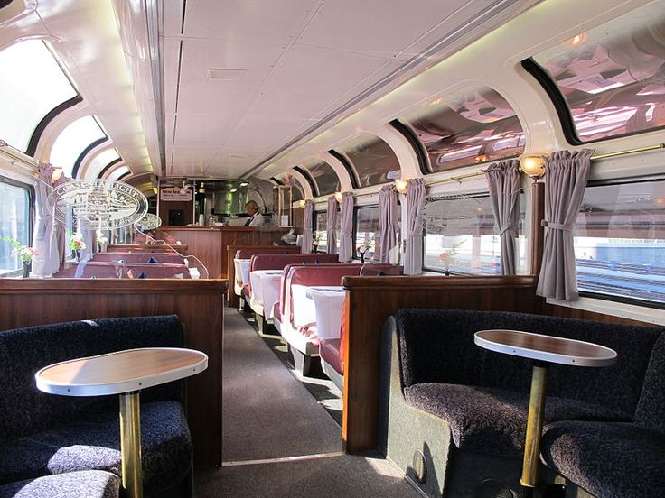 """The interior of one of Amtrak's """"Pacific Parlour"""" cars, an ex-Santa Fe Hi-Level Sky Lounge."""