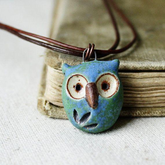 hoot owl- simple handmade ceramic necklace- blue earth