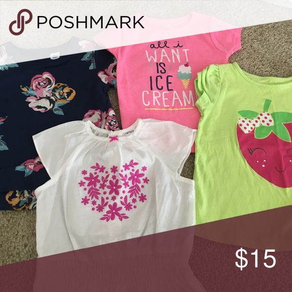 Bundle of 24 month tops! All four of these tops are super cute! The blue floral one it's from Old Navy, the pink and white one are Carter's brand, and the neon green one is from Walmart. Shirts & Tops Tees - Short Sleeve