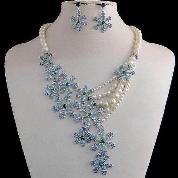 White Ivory Pearl Jewelry Set Swarovski Crystal Snowflake