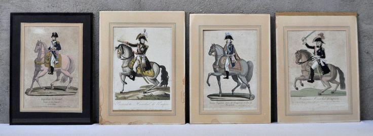 Vier Franse prenten met Napoléon en diverse Maarschalken. Ingekleurde prenten uit de XIXde eeuw