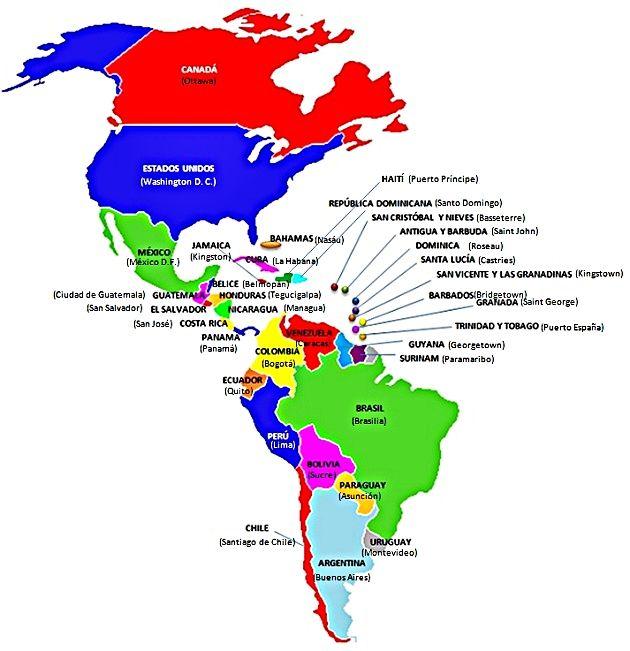 Mapa con los países y capitales de América