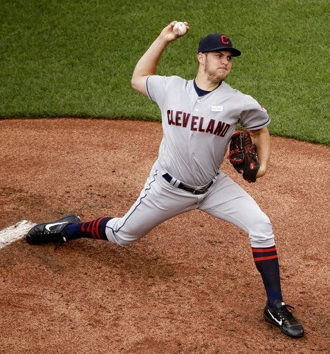 Cleveland Indians starting pitcher Trevor Bauer throws during the second  against the Kansas City Royals, Sunday, June 4, 2017, in Kansas City, Mo. (AP Photo/Charlie Riedel)        Indians won 8-0