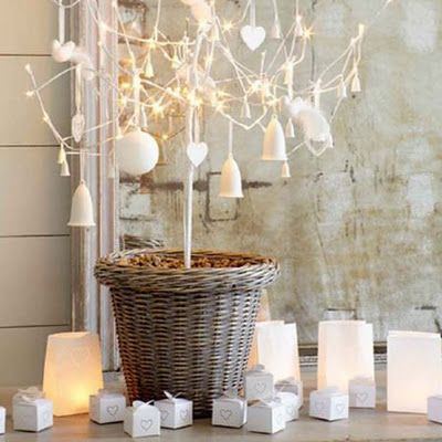 white christmas tree modern decorating wreath table fireplace decorations | Froghill Designs Blog