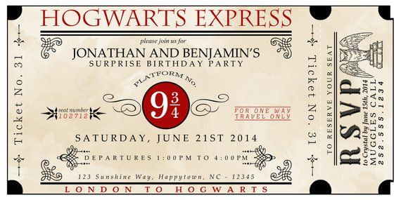 graphic about Hogwarts Express Printable known as Tailor made Printable Hogwarts Specific Ticket Invitation
