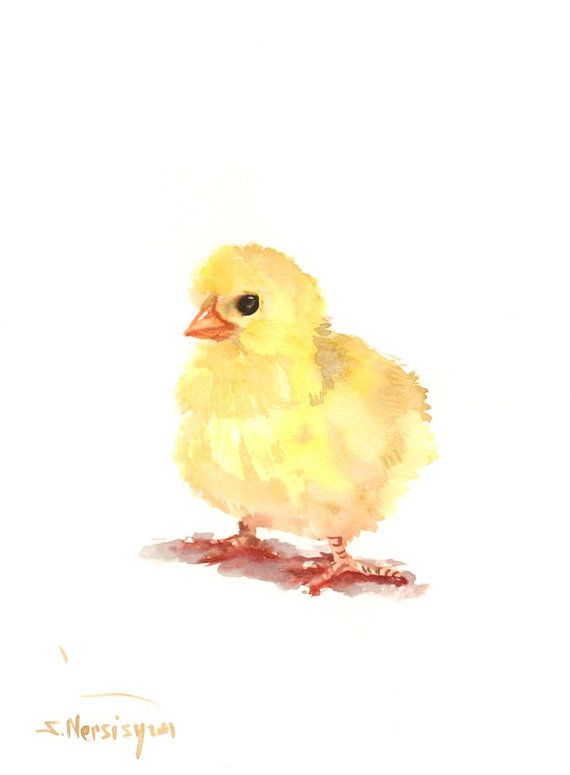 Baby Chicken Painting, 11 X 9 in, easter baby shower children wall art, original painting illustration