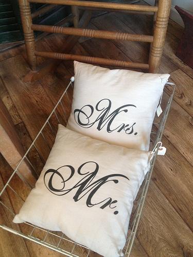 Mr & Mrs linen pillows