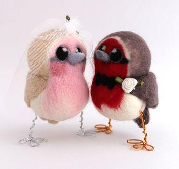 Bride And Groom Robin Bird Wedding Cake Topper
