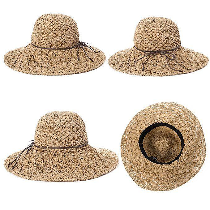 Brim Cap mit Weben Textur UPhitnis Sonnenhut Damen Faltbar Gr/ö/ße Einstellbar Sommer Strand Strohhut