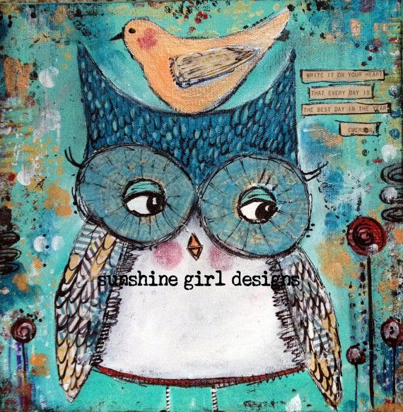 Owl mixed media original painting, 12 x 12 on canvas, emerson quote