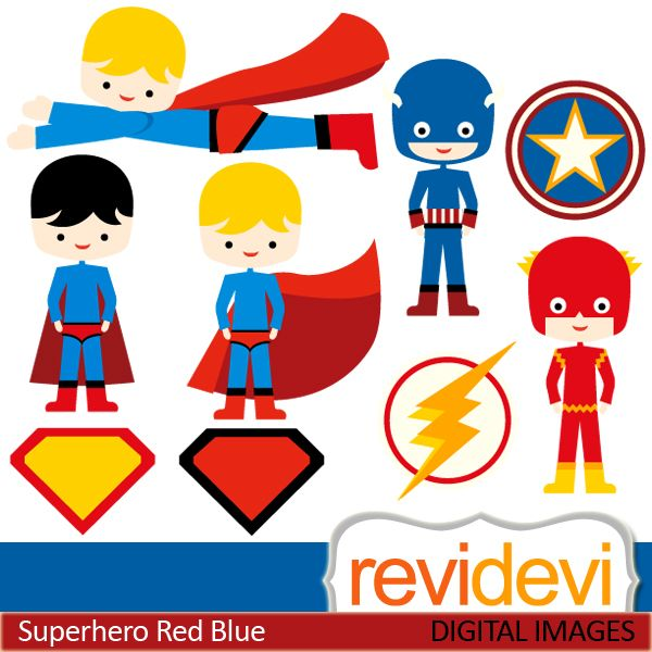 Cute superhero cliparts. Boys in american hero costume in red and blue. These   digital images are  great for any craft and creative  projects (specially for boys theme projects)
