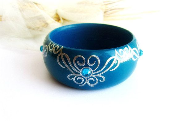 Wooden bangle bracelet petrol blue bracelet painted wood