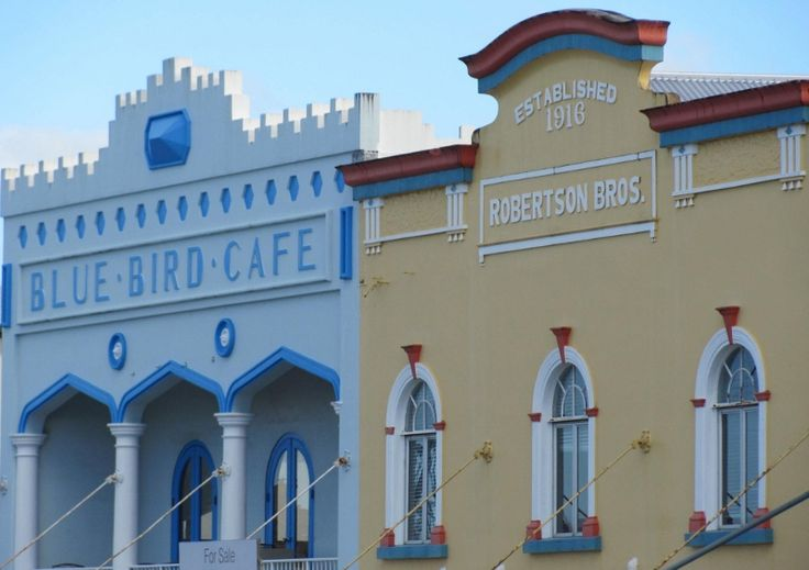 Art Deco architecture. Innisfail North Queensland. Only the facade remains of the Bluebird Cafe, and the cinema that made it a popular venue.