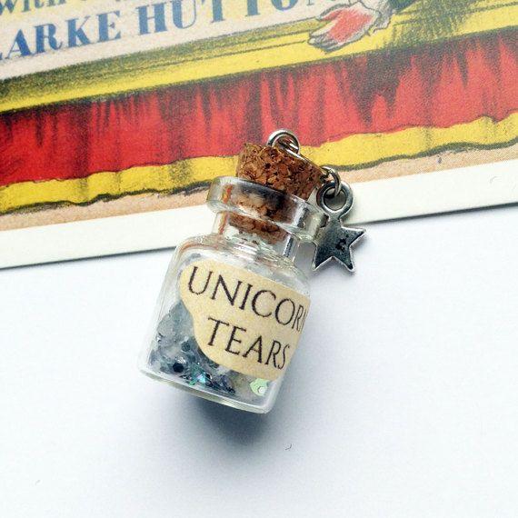 Mini glas Unicorn tranen fles charme 25x15mm voor het maken van een ketting