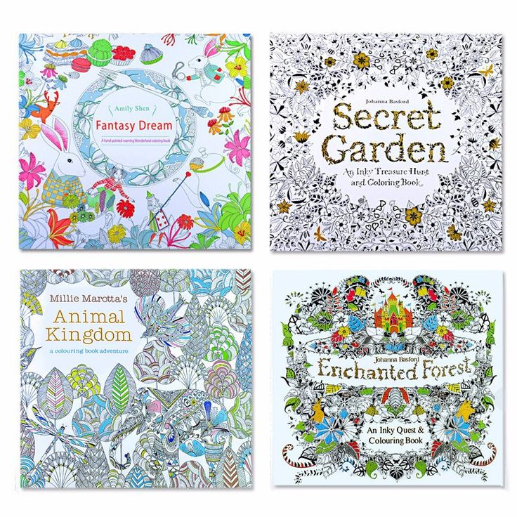 4 Pcs 24 Pages Animal Kingdom English Edition Coloring Book For Children Adult Relieve Stress Kill