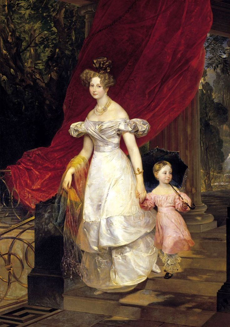 Karl Pawlowitsch Bryullow_1830_Grand Duchess Elena Pavlovna (1807–73)Charlotte von Württemberg)_with eldest daughter Grand Duchess Maria Michailovna(*1825 Moscow+1846 Vienna)_Russian State museum_St.Petersburg_1829 (while the Grandduchess stayed in Rome ): commissioned by castle near St. Peterburg 1928: transferred to Russian Museum from GMP