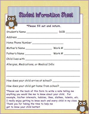 Classroom Freebies: Owl Theme Student Information Page