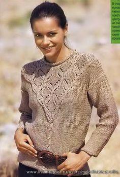 Спицы.Пуловер с ажурной кокеткой.. Обсуждение на LiveInternet - Российский…