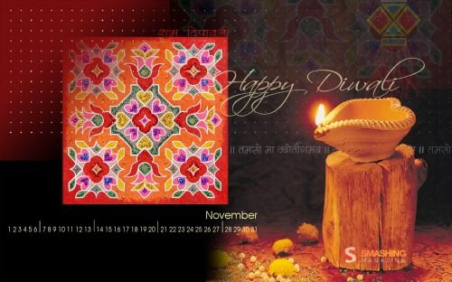 "diwali greetings ""Diwali is the celebration of the Hindu new year which is celebrated all over the world. This piece wishes everyone warm wishes for the Hindu new year and the common new year holiday coming up soon."" Designed by Smita Upadhye from New Zealand. Smashing Wallpaper - november 10"