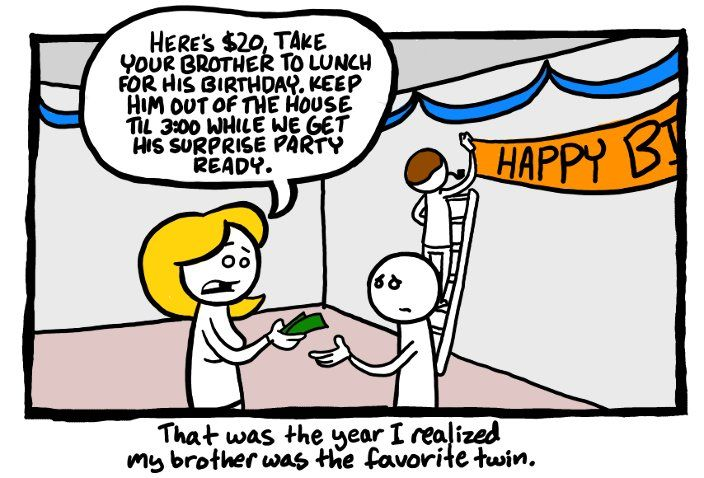 Poor guy!Laugh, Birthday Parties, Poor Guys, Funny Pictures, Funnypictures, Favorite Twin, Surprise Party, Funny Stuff, Funny Photos