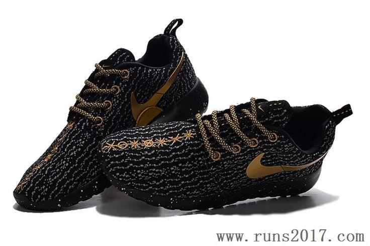 Nike Roshe Run Yeezy Black Gold Women Men