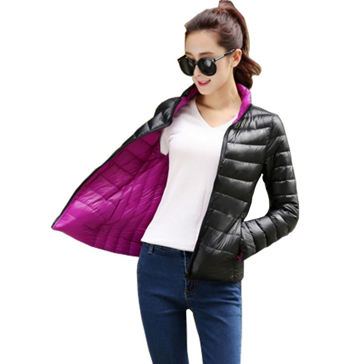 Manteau Femme Stand Collar Slim Short White Duck Women Ultra Light Down Jacket Casual Padded Coat Chaqueta Mujer Giacca Donna [Affiliate]