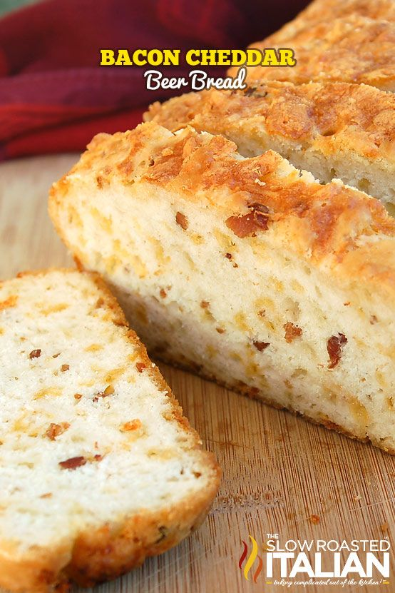Bacon Cheddar Beer Bread- 3 cups all purpose flour, 1TBSP baking powder, 1tsp salt, 3TBSP granulated sugar, 1 1/4 cup shredded cheese (Monterey Jack, Colby, and Cheddar mixture), 1 12oz beer, 4 slices cooked and chopped bacon (1/4 cup real bacon bits), 2 TBSP butter melted. Preheat oven to 350*.