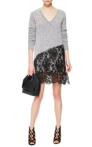 Wool Cashmere V-Neck Dress with Lace Skirt by Thakoon Now Available on Moda Operandi