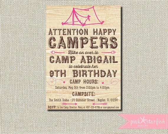 Camping Birthday Party Invitations