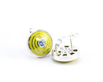 Pendientes de plata esmalte cloisonne joyería topacio plata guilloques esmalte Topacios joyas joyas joyas plata esmalte