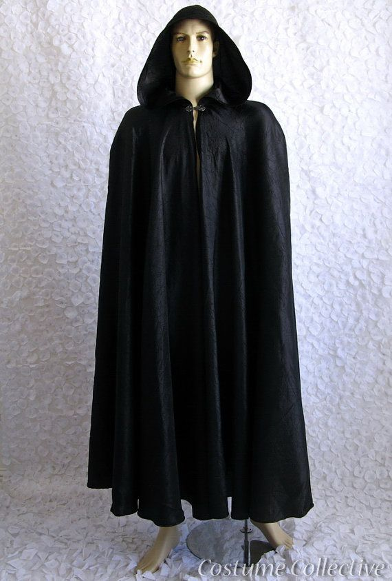 Long Black Cape with Hood for Men or Women | Capes, Women ...