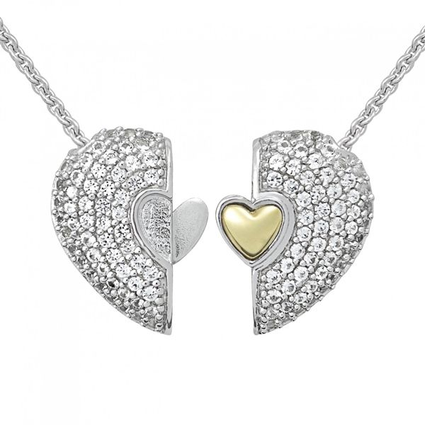 PETRA AZAR HEART OF GOLD STERLING SILVER HEART PENDANT WITH WHITE SAPPHIRES HGN086