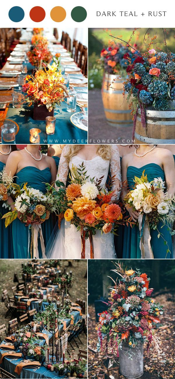 6 Perfect Dark Teal Wedding Color Schemes For Fall Dark Teal Weddings Wedding Theme Colors Teal Wedding Colors Schemes
