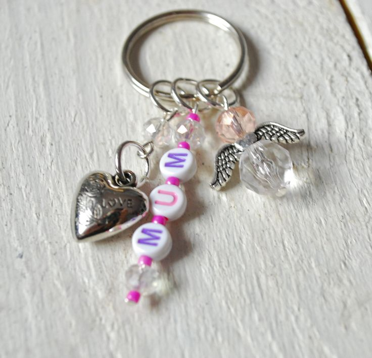 Key chain with MUM text, heart and an guardian angel - Guardian angel key chain for Mum - Love keychain for Mum - key ring for Mum by leonorafi on Etsy