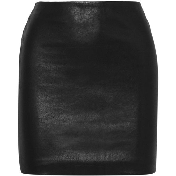 The Row Loattan stretch-leather mini skirt (27.861.375 IDR) ❤ liked on Polyvore featuring skirts, mini skirts, stretch skirt, genuine leather skirt, stretch mini skirt, stretchy mini skirts and leather miniskirt