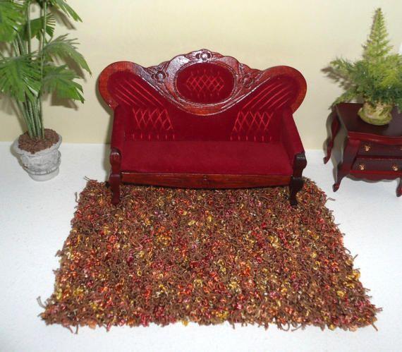 Tappeto marrone in miniatura, tappeto moderno in lana, complementi d'arredo in miniatura, in scala 1:12