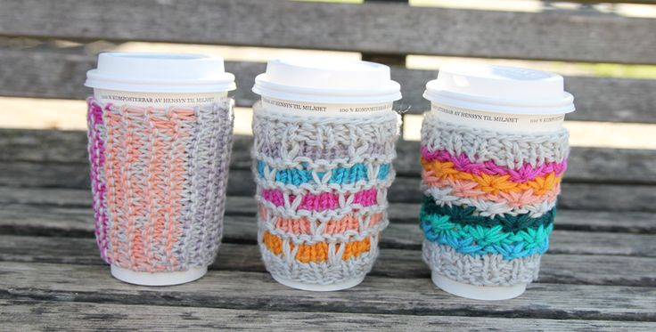 DIY -> cute coffee cozies...you could use recycled yarn and gift your friends with these little treasures. See the website for instructions. Now pass the coffee please.
